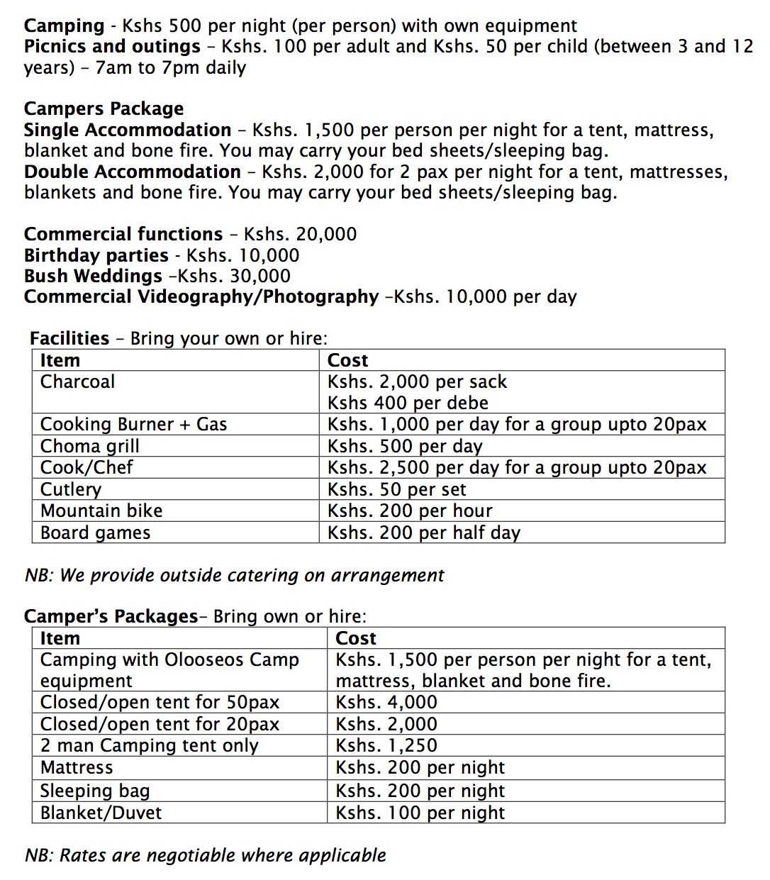 rates – PEC Nature Camp